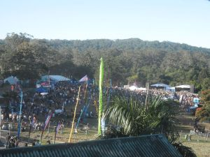 Looking down from 'backstage' onto the Main stage - the crowd got much larger as the day wore on!