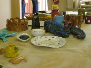 Some of the groups finished products - including my little vase in the middle....awww....so proud of my little vase! haha :)